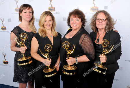 From left, Julie Sacks, Jessica Levin, Susan Lacy, and Prudence Glass pose for a portrait at the 2013 Primetime Creative Arts Emmy Awards, on at Nokia Theatre L.A. Live, in Los Angeles, Calif
