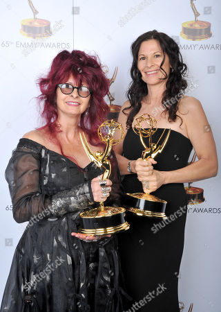 Stock Picture of Deborah La Mia Denaver, left, Deborah Rutherford pose for a portrait at the 2013 Primetime Creative Arts Emmy Awards, on at Nokia Theatre L.A. Live, in Los Angeles, Calif