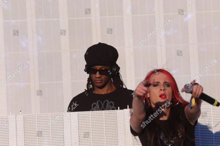 Stock Image of Maxim of the Prodigy performs a solo set with Cianna Blaze on vocals on day 3 of the 2013 Voodoo Music + Arts Experience at City Park on in New Orleans Louisiana
