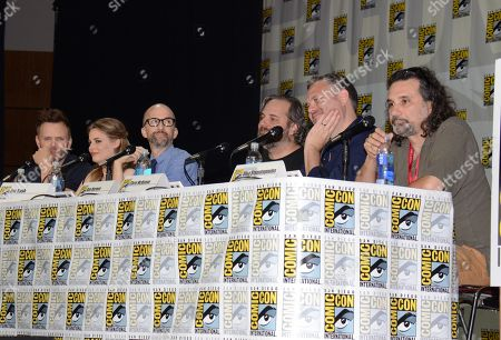 """Joel McHale, from left, Gillian Jacobs, Jim Rash, Dan Harmon, Chris McKenna and Dino Stamatopoulos attend the """"Community"""" panel on Day 1 of Comic-Con International, in San Diego"""