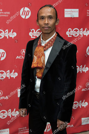 "Stock Image of Actor Yayan Ruhian poses at the premiere of the film ""The Raid 2"" during the 2014 Sundance Film Festival,, in Park City, Utah"