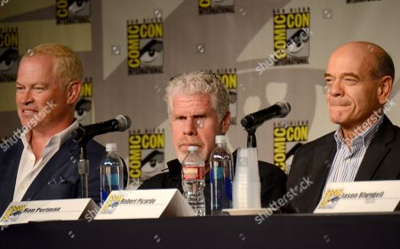 "Neal McDonough, from left, Ron Perlman, and Robert Picardo attend the ""Call of Duty Black Ops III: Zombie World"" panel on day 1 of Comic-Con International, in San Diego, Calif"