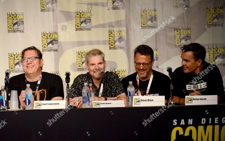 "Stock Image of Fred Tatasciore, from left, Tom Kane, Steve Blum, and Nolan North attend the ""Call of Duty Black Ops III: Zombie World"" panel on day 1 of Comic-Con International, in San Diego, Calif"