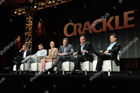"Actors Dennis Quaid, from left, Christian Cooke, Kate Bosworth, Cary Elwes, writers and executive producers, Gardner Stern and Chuck Rose participate in the ""The Art of Moreâ?? panel at the Crackle Summer TCA Tour held at the Beverly Hilton Hotel on in Beverly Hills, Calif"