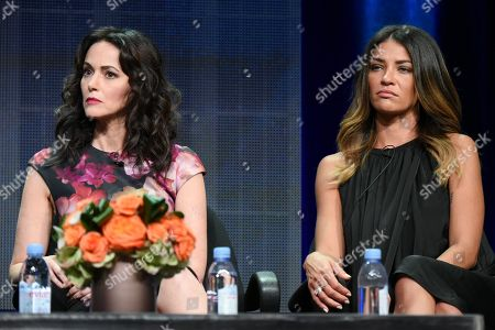 """Actors Joanna Going, left, and Jessica Szohr participate in the """"Kingdom"""" panel at the Direct TV Summer TCA Tour at the Beverly Hilton Hotel, in Beverly Hills, Calif"""
