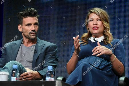 """Actors left, andFrank Grillo, Kiele Sanchez participates in the """"Kingdom"""" panel at the Direct TV Summer TCA Tour at the Beverly Hilton Hotel, in Beverly Hills, Calif"""