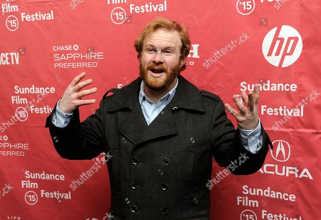 "Henry Zebrowski, a cast member in ""The D Train,"" banters with photographers at the premiere of the film at the Library Center Theatre during the 2015 Sundance Film Festival, in Park City, Utah"