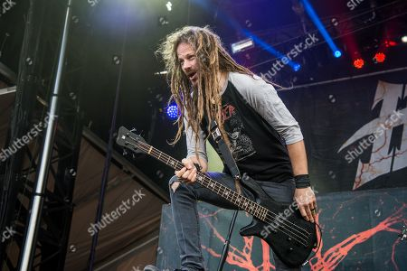 Stock Picture of Kyle Sanders of HELLYEAH performs at the Louder Than Life Festival, in Louisville, Ky