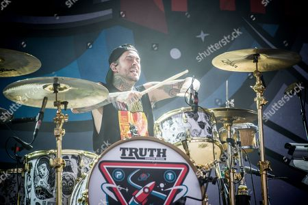 Mike Fuentes of Pierce The Veil performs at the Louder Than Life Festival, in Louisville, Ky