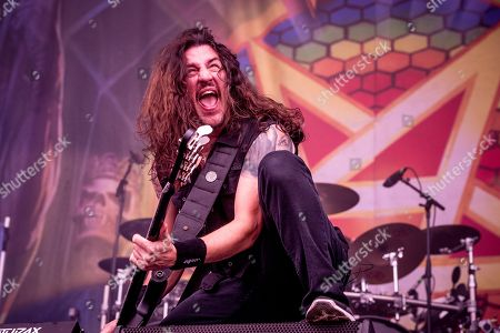 Frank Bello of Anthrax performs at the Louder Than Life Festival, in Louisville, Ky