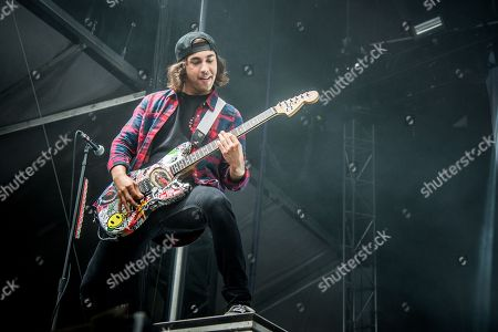 Vic Fuentes of Pierce The Veil performs at the Louder Than Life Festival, in Louisville, Ky