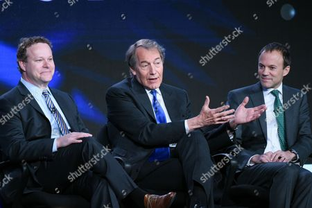 """Vice President of Programming, CBS News, Chris Licht, from left, host Charlie Rose and President, CBS News, David Rhodes, participate in the """"CBS This Morning"""" panel at the CBS 2016 Winter TCA, in Pasadena, Calif"""