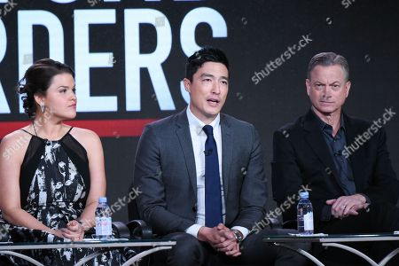 """Actors Annie Funke, from left, Daniel Henney and Gary Sinise participate in the """"Criminal Minds: Beyond Borders"""" panel at the CBS 2016 Winter TCA, in Pasadena, Calif"""