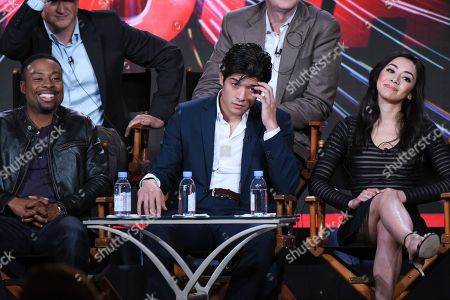 """Stock Image of Actors Justin Hires, Jon Foo and Aimee Garcia participate in the """"Rush Hour"""" panel at the CBS 2016 Winter TCA, in Pasadena, Calif"""