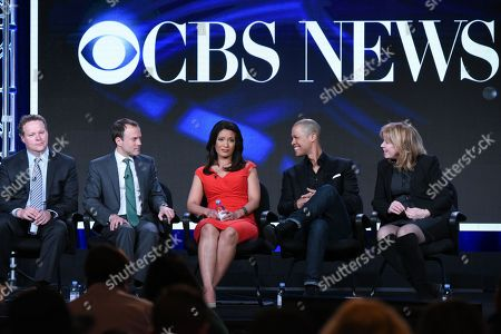 "Vice President of Programming, CBS News, Chris Licht, from left, President CBS News, David Rhodes, CBS News correspondents Elaine Quijano and Vladimir Duthiers and executive producer Nancy Lane participate in the ""CBSN"" panel at the CBS 2016 Winter TCA, in Pasadena, Calif"