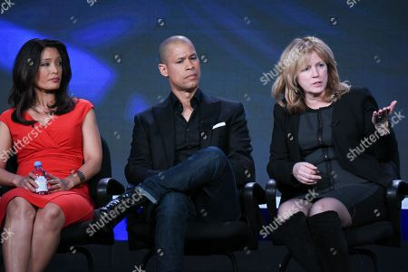"CBS News correspondents Elaine Quijano, from left, and Vladimir Duthiers with executive producer Nancy Lane participate in the ""CBSN"" panel at the CBS 2016 Winter TCA, in Pasadena, Calif"