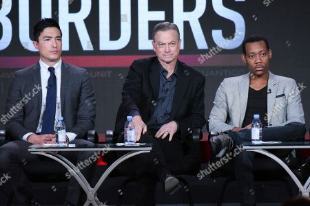 """Actors Daniel Henney, from left, Gary Sinise and Tyler James Williams participate in the """"Criminal Minds: Beyond Borders"""" panel at the CBS 2016 Winter TCA, in Pasadena, Calif"""
