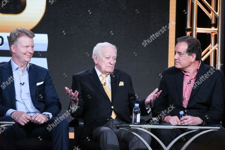 "Sportscasters Phil Simms, from left, Jack Whitaker and Jim Nantz participate in the ""CBS Sports"" panel at the CBS 2016 Winter TCA, in Pasadena, Calif"