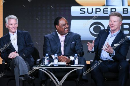"Chairman CBS Sports Sean McManus, from left, sportscasters James Brown and Phil Simms participate in the ""CBS Sports"" panel at the CBS 2016 Winter TCA, in Pasadena, Calif"