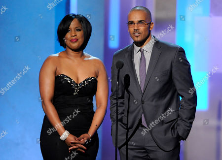 NAACP chairman Roslyn M. Brock, left, and Shemar Moore speak on stage at the 45th NAACP Image Awards at the Pasadena Civic Auditorium, in Pasadena, Calif
