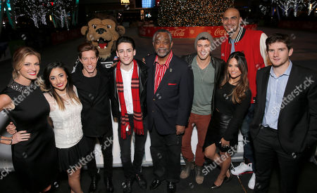 Shaun White, Erin Andrews, Alex G, Shaun White, Robby Word, Councilman Curren D. Price Jr., Jared Lee, Pia Toscano, Robert Sacre and Jonathan Quick attend the 6th annual Holiday Tree Lighting at L.A. LIVE and opening of LA Kings Holiday Ice to kick off AEGâ?™s Season of Giving presented by Coca-Cola, in Los Angeles