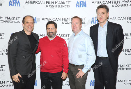 """Gary Michael Walters, Producer, """"Whiplash"""", """"Nightcrawler"""", from left, Glen Basner, CEO, FilmNation Entertainment, Scott Roxborough, German Bureau Chief, The Hollywood Reporter, and John Sloss, Principal, Cinetic Media, attend the American Film Market (AFM) conferences held at the Fairmont Hotel, in Santa Monica, Calif"""