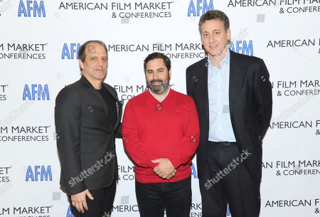 """Gary Michael Walters, Producer, """"Whiplash"""", """"Nightcrawler"""", from left, Glen Basner, CEO, FilmNation Entertainment, and John Sloss, Principal, Cinetic Media, attend the American Film Market (AFM) conferences held at the Fairmont Hotel, in Santa Monica, Calif"""