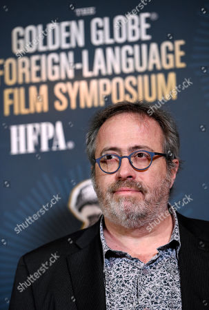 """Jaco Van Dormael, director of Golden Globe Best Foreign Language Film nominee """"The Brand New Testament"""" of Belgium/France/Luxembourg, poses at the Golden Globe Foreign-Language Film Symposium at the Egyptian Theatre, in Los Angeles"""