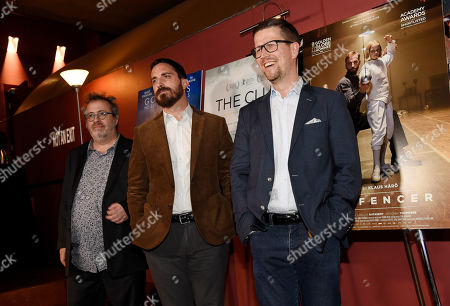 """Stock Photo of Klaus Haro, right, director of the Golden Globe Best Foreign Language Film nominee """"The Fencer"""" of Finland/Germany/Estonia, poses alongside fellow directors Pablo Larrain, center, and Jaco Van Dormael at the Golden Globe Foreign-Language Film Symposium at the Egyptian Theatre, in Los Angeles"""