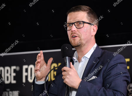 """Klaus Haro, director of the Golden Globe Best Foreign Language Film nominee """"The Fencer"""" of Finland/Germany/Estonia, addresses the audience at the Golden Globe Foreign-Language Film Symposium at the Egyptian Theatre, in Los Angeles"""