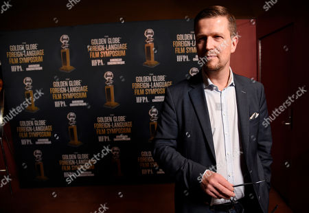 """Stock Image of Klaus Haro, director of the Golden Globe Best Foreign Language Film nominee """"The Fencer"""" of Finland/Germany/Estonia, poses at the Golden Globe Foreign-Language Film Symposium at the Egyptian Theatre, in Los Angeles"""