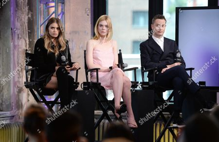 """Stock Photo of Actress Abbey Lee, filmmaker Nicolas Winding Refn, actress Elle Fanning participate in AOL's BUILD Speaker Series to discuss the documentary film, """"Eat That Question: Frank Zappa In His Own Words"""", at AOL Studios, in New York"""