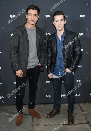 Gabriel Monte, left, and Jeremy Shada attend the AOL NewFront at the South Street Seaport, in New York