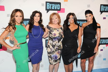 """The Real Housewives of New Jersey"""" cast members, from left, Melissa Gorga, Jacqueline Laurita, Caroline Manzo, Kathy Wakile and Teresa Giudice attend the Bravo Network 2013 Upfront on in New York"""