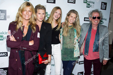 """From right, Keith Richards, his daughter Theodora, granddaughter Ella Rose, daughter Alexandra Richards, and wife Patti Hansen attend the """"Breaking Bad"""" final episodes premiere hosted by the Film Society of Lincoln Center, in New York"""