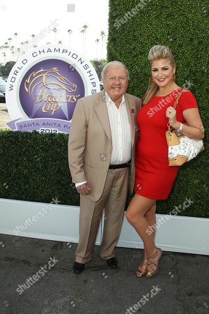 Dick Van Patten, left, and Josie Goldberg attend Day 1 of Breeders' Cup World Championships held at Santa Anita Park, in Arcadia, Calif