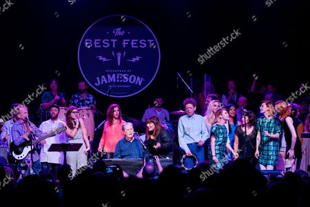 """From left, Al Jardine, Bethany Cosentino, Brian Wilson, Wendy Wilson, Carnie Wilson, Blondie Chaplin, Kesha, Lucius, Norah Jones, and Karen Elson perform onstage during """"Brian Fest: A Night To Celebrate The Music Of Brian Wilson,"""" at the Fonda Theatre, in Los Angeles"""