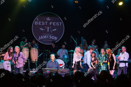 Stock Photo of From left, Al Jardine, Bethany Cosentino, Brian Wislon, Wendy Wilson, Carnie Wilson, Blondie Chaplin, Kesha, Lucius, Norah Jones, and Karen Elson perform on stage during Brian Fest: A Night To Celebrate The Music Of Brian Wilson at the Fonda Theatre, in Los Angeles