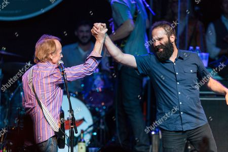 Sebu Simonian of Capital Cities, right, and Al Jardine perform on stage during Brian Fest: A Night To Celebrate The Music Of Brian Wilson at the Fonda Theatre, in Los Angeles