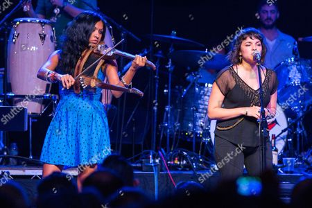 Gingger Shankar, left, and Norah Jones perform on stage during Brian Fest: A Night To Celebrate The Music Of Brian Wilson at the Fonda Theatre, in Los Angeles