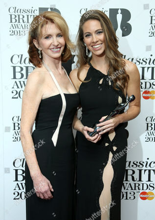 Jane Asher and Amy Dickson pose in the media room at the Classic BRIT Awards 2013 at the Royal Albert Hall,, in London