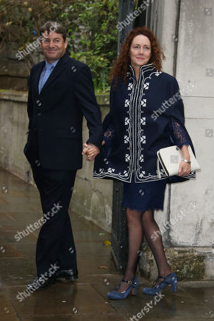 Charlie Brooks, left, and Rebekah Brooks arrive at St Bride's Church for the celebration ceremony of the wedding of Rupert Murdoch and Jerry Hall in London