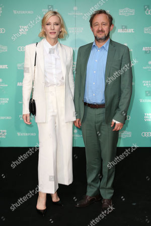Actress Cate Blanchett and Andrew Upton pose for photographers upon arrival at the Old Vic Summer Gala in London