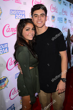 Andrea Russett and Jack Gilinsky attend the official pre-party for Teen Choice 2014 presented by Candie's on in Beverly Hills