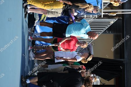 Maeve Quinlan and Elizabeth Shue participates in the Chris Evert / Raymond James Pro-Celebrity Tennis Classic at the Delray Tennis Center on in Delray Beach, Florida