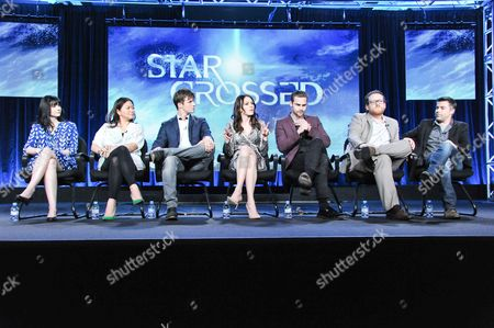 """From left, executive producers Meredith Averill, Adele Lim, cast members Matt Lanter, Aimee Teegarden, Grey Damon, Josh Applebaum and executive producer Andre Nemec participate in the """"The 100"""" panel discussion at the CW Winter 2014 TCA Press Tour, Wed, in Pasadena, Calif"""