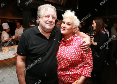 "Chef Jonathan Waxman and chef Anne Burrell seen at CHEFS CLUB BY FOOD & WINE opening party and celebration of Dana Cowin's new book ""Mastering My Mistakes in the Kitchen,"" at CHEFS CLUB BY FOOD & WINE on in New York"