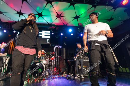 Stock Picture of Ty Dolla Sign (L) and Joe Moses perform on stage during filming of SKEE Live on in Los Angeles, Calif