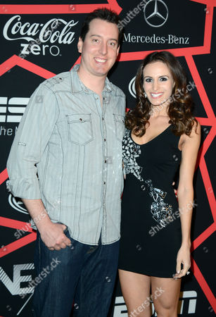 "NASCAR driver and team owner Kyle Busch, left, and Samantha Sarcinella arrive at ESPN The Magazine's ""Next"" Event on in New Orleans"