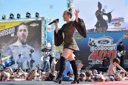 Kimberly Perry of The Band Perry performs prior to the Ford EcoBoost 400 at the Homestead Miami Speedway on in Homestead, Fla
